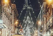 sleigh bells / winter + hot chocolate + big blankets + coats + string lights + christmas trees