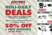 Auto Parts Warehouse Holi-Daily Deals / Here's your chance to get the tools & accessories you need at HEAVILY DISCOUNTED prices!  Sign up for our exclusive Holi-Daily Deals email series and get up to 50% OFF + FREE SHIPPING* on hot items! Sign up here: http://apw.to/holidaily / by Auto Parts Warehouse