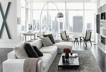 ☁️ l i v i n g ☁️ r o O m ☁️ / Stylish living room, white grey minimalist
