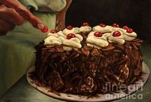 Baked Still Lifes / cake, cookie, biscuit, food, gateau, tart, fine art, painting, print, bread, original, purchase, buy
