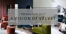 Visions of Velvet Interiors / First, in this year's trend roundup, we have 'A Vision of Velvet'!  Velvet is having a huge resurgence in interiors, fashion, and beyond and is a material which oozes class, decadence, and sophistication.  What we love most about this trend is the way it seamlessly blends classic and contemporary styling for a fresh take on a traditional textile.
