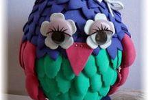 Owls / Bloemen en bladeren stencils om uiltjes te maken 6002/3001 t/m 6002/3004
