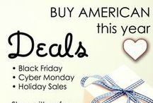 Black Friday Sales 2015 / American made Black Friday, Cyber Monday, and Holiday season sales.  / by USA Love List