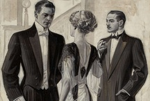 """Men's Fashion 1900s - Joe and Edgar. / """"Her small, cut feet slapped the pavement toward the shadowy stranger.  She could tell that his turn into the alley was no coincidence.  He came for her.  She lowered her head and tried to dodge around him, but he caught her up, squeezing her around the waist with tree branch arms.  Anna shrieked and thrashed, bashing his shins with her heels, and getting smelly muck all over his very nice sack coat and contrasting trousers."""" From THE SECRET LIFE OF ANNA BLANC."""