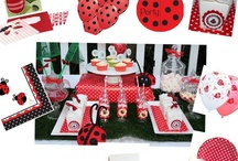 Lady bug party / Lady bug party ideas from www.thecompletekidsparty.com.au •White paper party box with ladybug party tag. Tied with red party ribbon with black spots •Red and white spot table runner •Mini milk bottles and Paper Eskimo red striped straws •Lolly Buffet jars and scoops •Sambellina red and white spot paper plates and cups •Ladybug party napkins