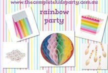 Rainbow party ideas / Our rainbow party includes  •Rainbow party invitations  •Rainbow lolly/dessert table kit  •A selection of coloured party tablecloths, runners, plates and cups •New Sambellina rainbow plates, cups, napkins, cupcake boxes and favour boxes/treat bags. •Rainbow party decorations including party lanterns and tissue paper pom poms