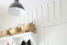 Office to Mudroom Transformation / DIY mudroom and office. White room with black ceiling.. Herringbone slate tile floor. Organization