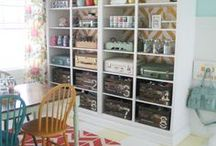 Home Office and Kids Playroom Idea Board / Kids and home office work space made pretty and functional