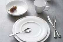 Skye Dinnerware Collection / Designed by renowned dinnerware designer Robin Levien, and crafted of beautiful white bone china,  the collection is inspired by the breathtaking natural beauty and serene landscape of the Isle of Skye.