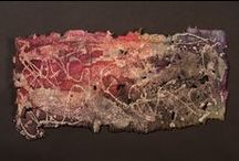 Some of my work / Handmade paper, wax resist, stitching / by Claudia Lee
