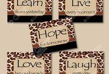 Leopard Cheetah Zebra Safari / Leopard Cheetah Wall Art Decor Prints inspirational motivational