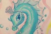 RETRO SEAHORSES / Vintage and vintage inspired seahorses, midcentury ceramic seahorses, seahorse art