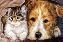 "Best friends ...  / ""cats & dogs paintings""  - There is no doubt that cat and dog can live together peacefully and amicably.
