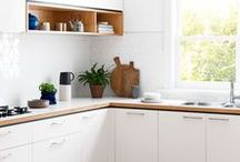 Kitchen Inspiration Board / Collecting images and ideas for our kitchen renovation. White, bright, natural wood tones.