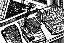 Send Image / Deze serie tekeningen maakte ik naar aanleiding van toegestuurde foto's op mijn mobiel. De achteloosheid van de dagelijkse dingen, vaak voorwerpen, spelen een rol in de foto's. De tekeningen in zwarte en witte lijnen geven een grafische kwaliteit aan de afbeelding.