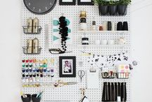 Organised and Bright Craft Rooms / Inspiration for beautiful craft rooms. Bright open spaces, bold colours and perfect organisation/storage.