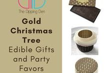 Gold Christmas Trees on Brown by The Dipping Den / Gold Christmas Tree on Brown Edible Gifts and Event Favors by The Dipping Den. Brownies, cookies, cake pops, chocolate, gum, and more! #thedippingden #anyeventeveryoccasion #zazzle #christmas #holidaytreats  THEDIPPINGDEN.COM  ZAZZLE.THEDIPPINGDEN.COM