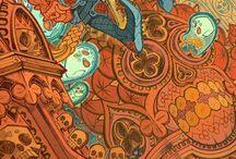 illustration concept / Composición, paisaje, estilo de ilustración.
