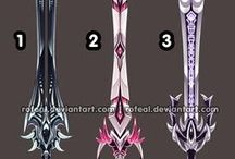 Outfits and weapons design / Clothes, accessories, weapons and magic items design. *None of these pins comes from me.*