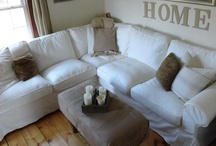 Home - White & Wood Living Rooms / Neutral living rooms, white slip-covered sofas, natural elements, textures and wood.  Vintage cottage farmhouse style. / by Gloria McMahon