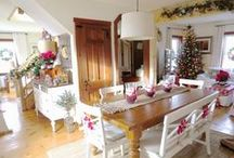Christmas / Simple Christmas.  White and red, country farmhouse/cottage decor.   / by Gloria McMahon