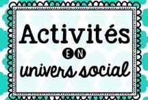 Activités en univers Social / Idées d'activités en univers social