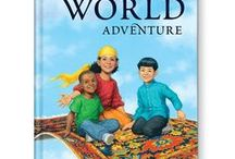 My Very Own World Adventure / Your child rides a magic carpet around the world, and your child's first and last names are spelled out letter-by-letter according to the countries that your child visits – J for Japan, etc. This adventurous, personalized book was illustrated by 63 artists from around the world! Available at http://www.iseeme.com/.