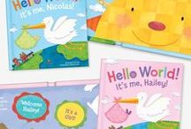 Hello World! Personalized Board Book / Hello, World! makes a perfect gift to welcome a new baby into the world! Parents will treasure this adorable keepsake book, as it is personalized with the new baby's name and photograph. Hello, World! is made with thick, durable pages for exploring little hands. Written by Jennifer Dewing. Illustrated by Holli Conger. Made in the USA.