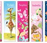 """PERSONALIZED GROWTH CHARTS / What a wonderful way to watch your child grow! Each 12"""" x 42"""" growth chart comes personalized with your child's first name. These beautifully illustrated, high quality growth charts are produced with artist grade canvas and have 4 grommets for easy hanging. When the parent has finished using the growth chart, it can be rolled up and kept forever! Each growth chart comes packaged in a special I See Me! gift box for the perfect added touch! Made in the USA."""