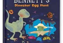 My Dinosaur Egg Hunt Personalized Book / An around-the-world dinosaur adventure awaits in this personalized storybook. Upload an image of your child and see their smiling face incorporated into the artwork on every spread!