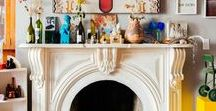 Fireplaces and Mantels. / Beautifully arranged and displayed fireplace mantels...working or ornamental only, worn brick and distressed wood, accessorized with small succulents and artwork, or clean and minimal.