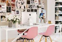 Studio Inspiration / dream office, office decor, cute desk, decorating tips, entrepreneur, solopreneur, creative business, bosslady, branding, girlboss, freelance, business, start-up, office supplies, creativity, office plants, cute desk essentials