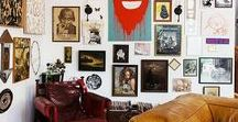 Gallery Walls. / Groupings of artwork...eclectic paint-by-numbers, silhouettes, mix and match frames, various interiors with gallery-like groupings.