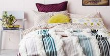 Bedtime. / Rustic and cozy bedrooms...simple and clean headboards, lots of blankets and throws, mixed patterns, vintage pieces, and colorful pillows.