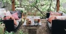 Outdoor Entertaining. / Outdoor dining and entertaining...fairy lights, rustic tables, small intimate dinners and larger scale meals.