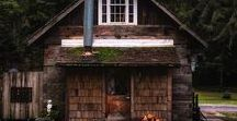 Through The Woods. / Beautiful and rustic cabins, nestled in the woods.
