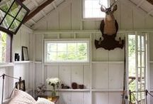 Rustic Scandinavian Farmhouse Style. / Cozy, rustic furnishings, weathered wood, chipped paint, white interiors and worn textiles.