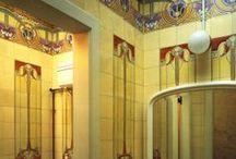 Vintage Tiled Rooms. / Vintage, original tiled kitchens and bathrooms...Art Nouveau to Mid Century Modern.
