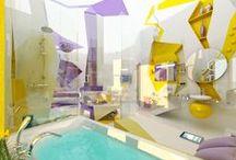 Uniek / Unique / Out of the box denken. Durf kleuren en materialen te combineren. De avontuurlijke badkamer toont het lef hiervoor.---------------------------------------------------------------------Pensez en dehors des cadres. Osez combiner les couleurs et matériaux différents. Une salle de bains unique montre d'audace et l'aventureux !