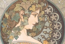 """Alphonse Mucha / """"Czech (1860-1939) AM tried to bring art into the lives of people by designing posters, ads, labels for soap, toothpaste & butter, mosaic panels for municipal pools, crockery, textiles, jewellery, stamps, calendars, letterheads & illustrative work. He loved Byzantine icons, collected & copied them. He despised Art Nouveau--his was really a style of its own. Study how ingeniously Mucha weaves into a single pattern frame & content, figures & decoration, lettering & picture.""""  from Artchive   / by Tracyene Charles"""