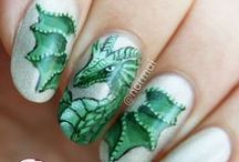 Detailed freehand nail art