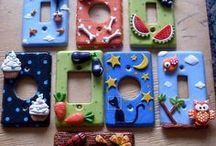 Polymer clay Housewares / So what are housewares?  Well anything attached to your house or used to hold or frame something else. I have also included anything that might be considered a tool.  Utensils, knives, keyrings and so on. / by Jenny Mehlenbeck