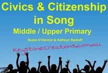 CIVICS & CITIZENSHIP IN SONG / CIVICS & CITIZENSHIP IN SONG (Middle/Upper Elementary) ~ The songs' powerful lyrics and catchy melodies help students to understand rights and responsibilities associated with citizenship, and enables them to internalize values and attitudes for participating in the civic life of their communities. *SONG SAMPLES: http://www.cdbaby.com/cd/nualaohanlonkathrynradlo *WEBSITE: KeystoneCreations.com.au
