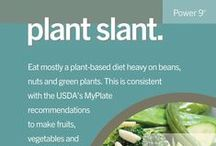 Plant Slant (Recipes and Tips!) / Plant Slant  Beans, including fava, black, soy and lentils, are the cornerstone of most centenarian diets. Meat—mostly pork—is eaten on average only five times per month.  Serving sizes are 3-4 oz., about the size of deck or cards.