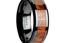 Wood Inlaid Rings / Beautiful and Unique Wood inlay Tungsten and Black Ceramic Rings by Thorsten