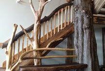 Log Home Interiors (Artisan) / Log home interiors designed by Artisan Custom Log Homes: Stairs, hallways, fire place, decks and railings.