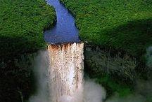 Mountains, rocks, river, waterfalls, woods