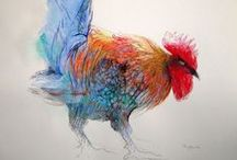 Farmyard roosters, ducks, geese / Beautiful roosters, chickens, ducks, geese, and pheasants like to paint.