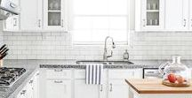 Kitchens I Love / Beautiful Kitchens: Kitchen Design, white cabinets, kitchen backsplashes, subway tile, kitchen island