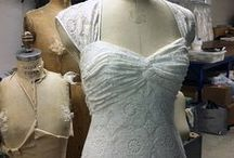 The Niki Wedding Dress / Close-weave antique English cotton lace slim empire-cut gown w/ see-thru shoulder & back detail - Part of the VCD by The Cotton Bride collection - $1625